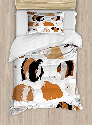 Lunarable Guinea Pig Duvet Cover Set, Infographic Design Classification for Types of Rodent Breeds, Decorative 2 Piece Bedding Set with 1 Pillow Sham, Twin Size, Brown Ginger