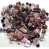 Assortiment perles de verre rose-améthyste