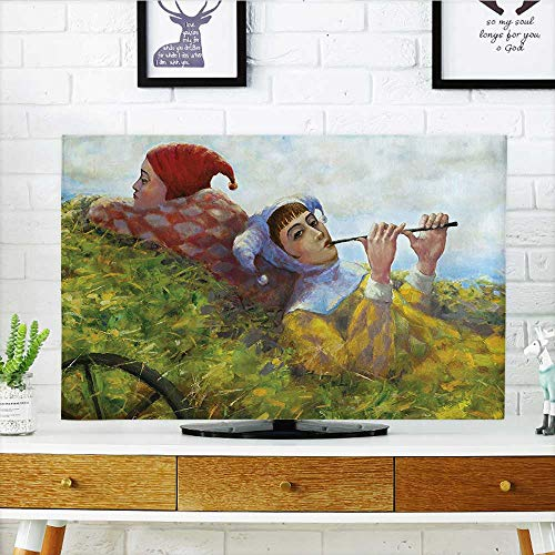 H30 Cart (Auraisehome Dust Resistant Television Protector Collection Children Girls Enjoying The Nature on Old Cart at The Country Nature tv dust Cover W19 x H30 INCH/TV 32