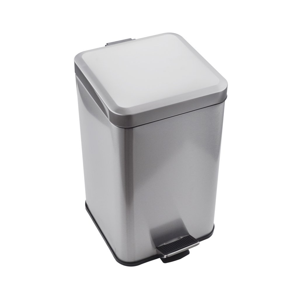 Kes Stainless Steel Square Step Trash Can with Removable Inner Bucket Silent Close Lid and Fingerprint-proof Brushed Nickel Finish for Modern Hotel Office Home 12 L/3.2 Gal, STC210S12-2