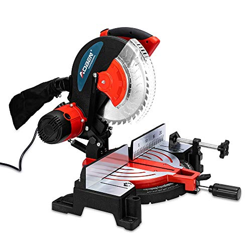 AOBEN 10-Inch Compound Miter Saw, Double-Bevel Cut (-45°-0°-45°) With Extensible Table, Dust Bag