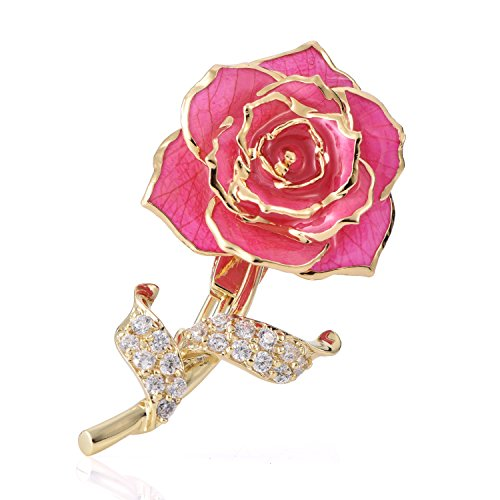 ZJchao Floral Brooch Pins for Women Brides Flower Brooch Badge 24K Gold Jewelry Gift for Her Birthday (Pink)