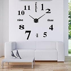 Modern Design & Outsized Frameless Wall Clock 3D Surface Sticker DIY Home Decor