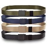 OWIKAR Mens Nylon Belt Tactical Webbing Belts For Men Outdoor Military Style Casual Belt Plastic Automatic Belt Buckle (Navy blue)