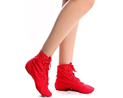 Lace-up Canvas Dance Shoes Flat Jazz Boots For Practice Suitable For Both Men and Women (9.5 D(M) US/43 Red)