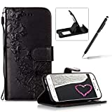 Wallet Leather Case for Samsung Galaxy A5 2017 A520,Strap Leather Cover for Samsung Galaxy A5 2017 A520,Herzzer Premium Elegant Black Dandelion Butterfly Printed Magnetic Foldable Full Body Folio Pu Leather Soft Inner Stand Cover with Card Slots