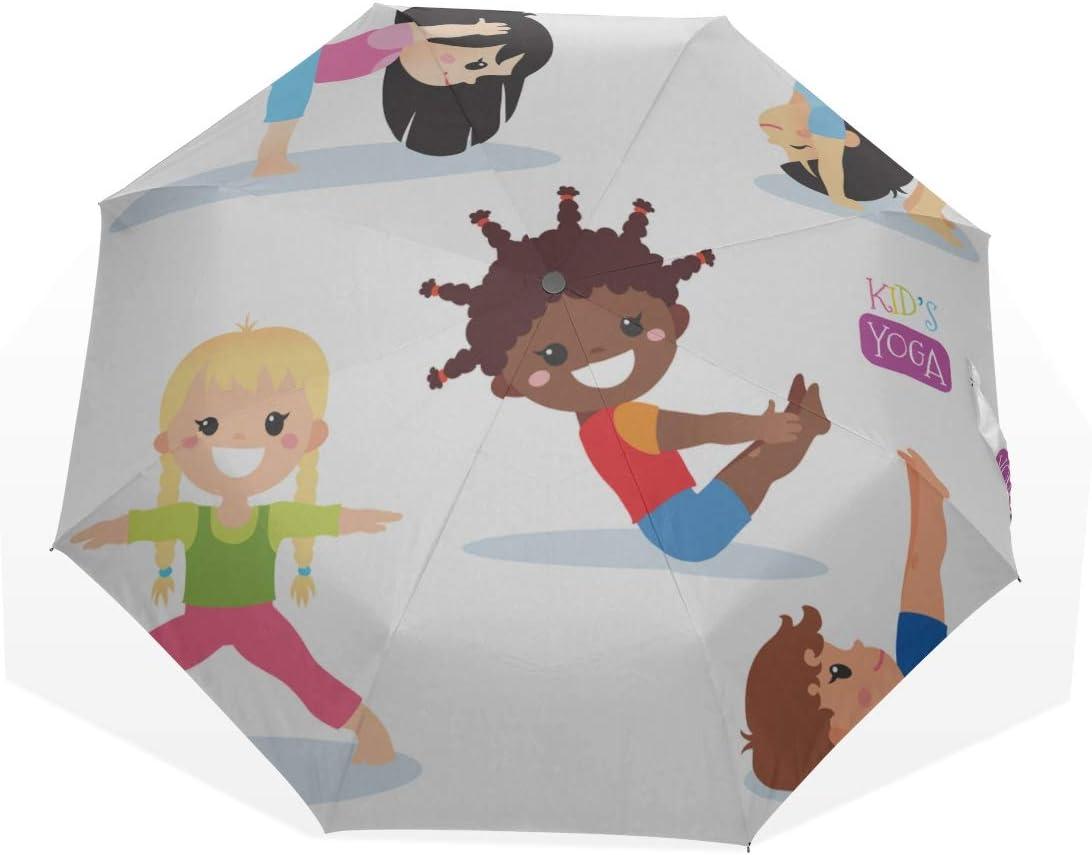 Folding Umbrella Lightweight Cute Kids In Different Yoga Poses 3 Fold Art Umbrellas outside Printing) Women Umbrella Compact Fun Compact Umbrella Travel Sun Umbrella