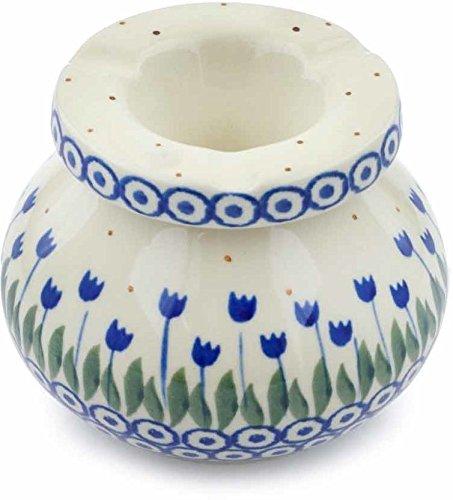 Polish Pottery 4-inch Ashtray Made by Ceramika Artystyczna (Blue Tulip Circle Theme) + Certificate of Authenticity