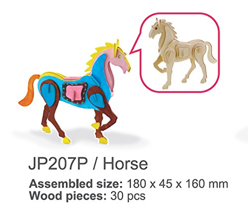 Sunnytech1pc 3D Wooden Jigsaw Puzzle With Painting Tools Child Educational Woodcraft Puzzle Toy DIY Kit (Horse - JP207P) (Horses 3d)