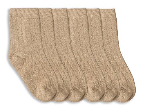 Jefferies Socks Boys Rib Crew Socks 6 Pair Pack (M - USA Shoe 12-6 - Age 5-10 Years, Khaki)