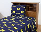 College Covers Michigan Wolverines Printed Sheet Set - King - Solid