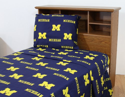 (College Covers Michigan Wolverines Sheet Set, Queen, Team Colors)