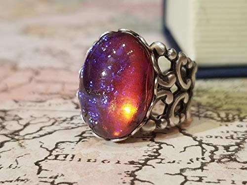 (Fire Opal Ring Dragon's Breath (Glass Cabochon) Ring, Filigree, Renaissance Jewelry, Victorian Jewelry, Red Mexican Fire Opal, Gothic Style Ring, Platinum silverware silver plated over brass )