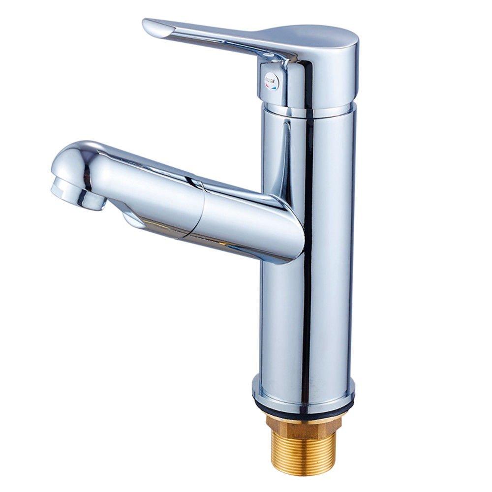 MEIBATH Waschtischarmatur Badezimmer Waschbecken Wasserhahn Küchenarmaturen Messing Warmes und Kaltes Wasser Pull-Out-Schwenken Küchen Wasserhahn Badarmatur