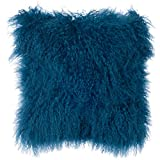 Decorative Pillow Cover - SLPR Mongolian Lamb Fur Throw Pillow Cover (20'' x 20'', Nordic Blue) | Real Fur Decorative Cushion Cover Pillow Case for Living Room Bedroom