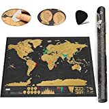 Wall Decor World Map Art Canvas Home of the Mural Interior Gallery Wall Scratch map Artwork Poster (black)