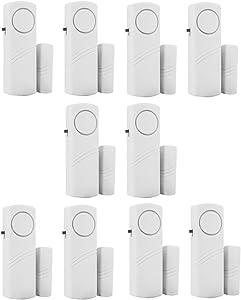 Ymadpke Door Window Alarm, Home Security Wireless Magnetic Sensor Burglar Anti-Theft Alarm - DIY Easy to Install (Pack of (10))