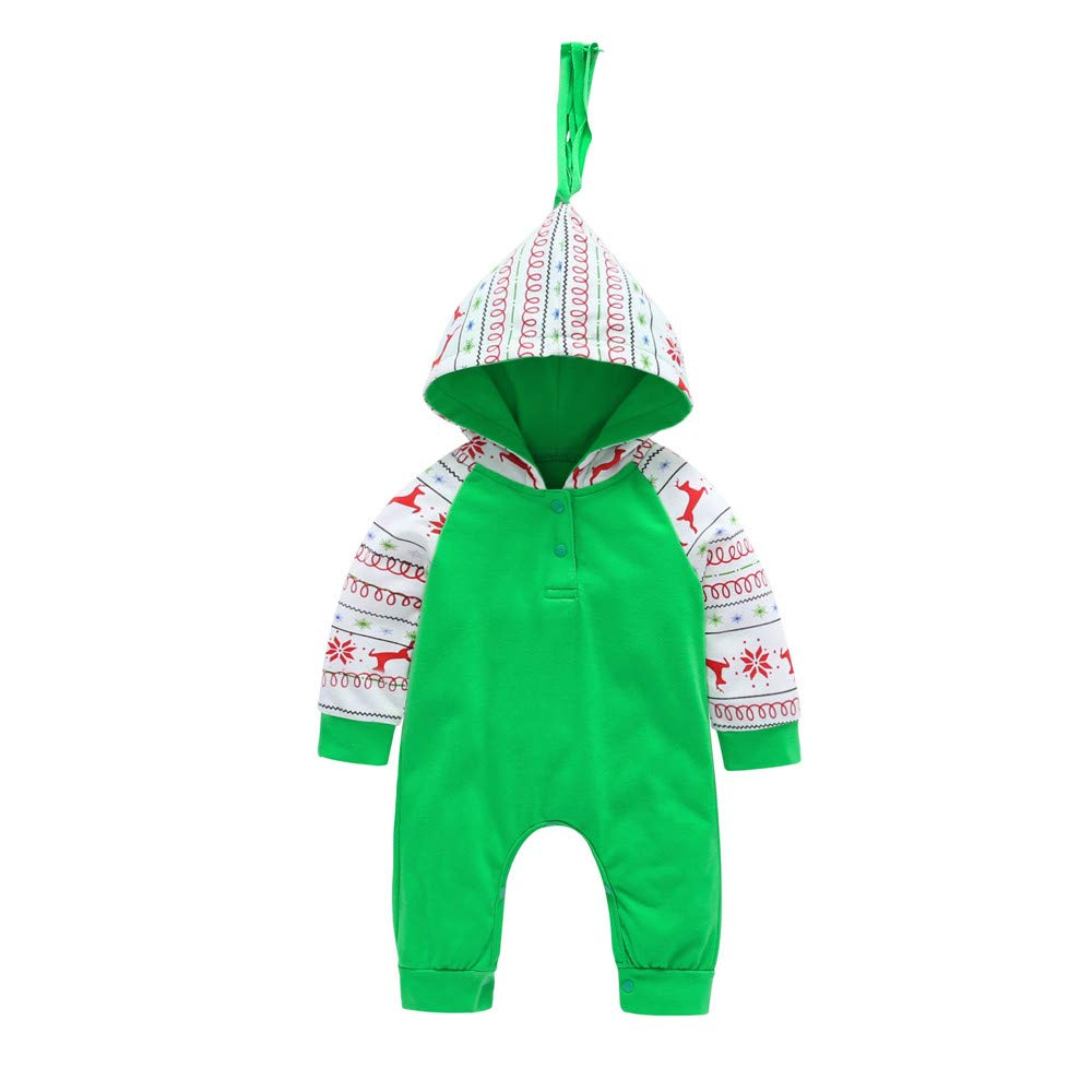 8cd335b639e Amazon.com  Sikye Christmas Cartoon Deer Print Newborn Baby Boys Girls Long  Sleeve Romper Hooded Bodysuit Outwear  Clothing
