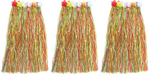 HAPPY DEALS ~ 3 Pack- Adult Size Multi Color Grass Hula Skirts - 34