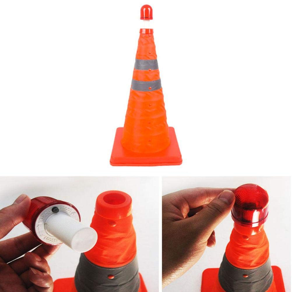 Zaote Orange Multipurpose Traffic Safety Cones Extendable and Collapsible Fluorescent Reflective Road Safety Parking Cones with Orange Base