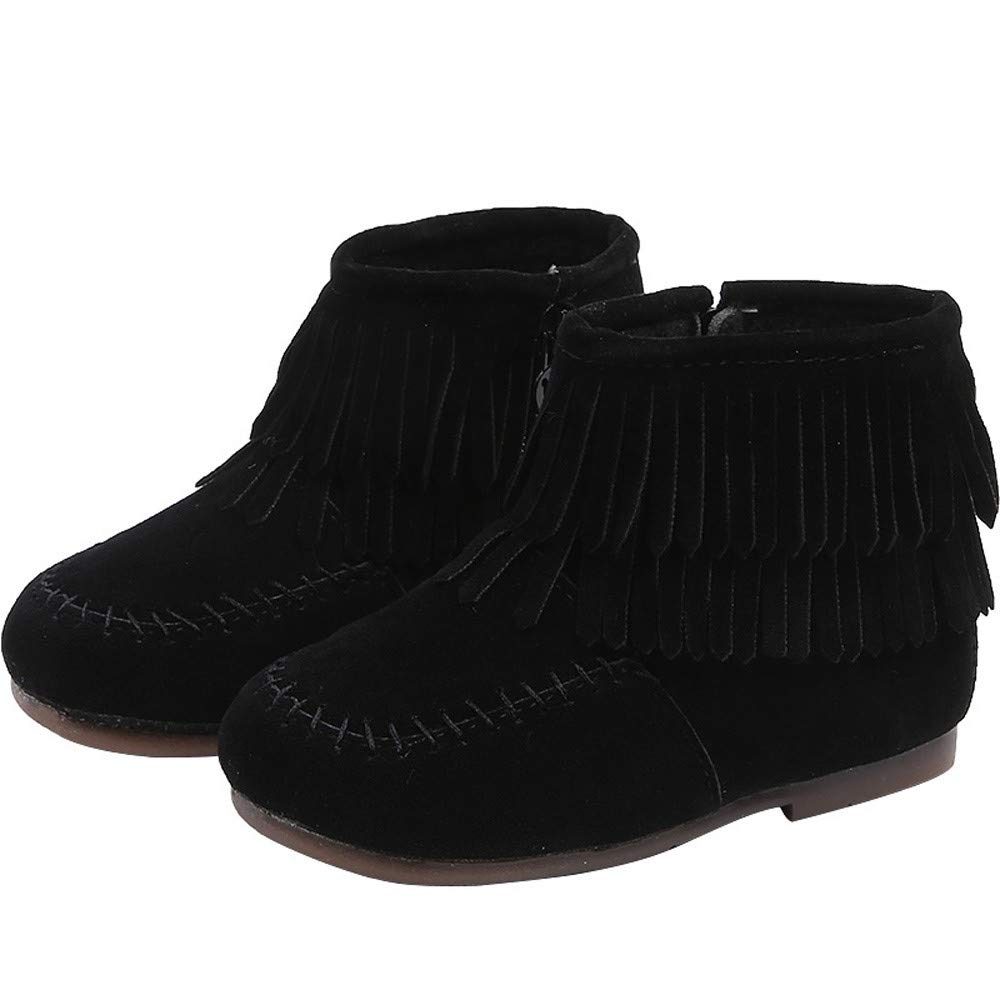 Amazon.com: Kids Toddler Baby Girls Boys Moccasins Ankle Booties Winter Double Fringe Tassel Martin Boots Solid Zip Snow Boots Shoes: Clothing