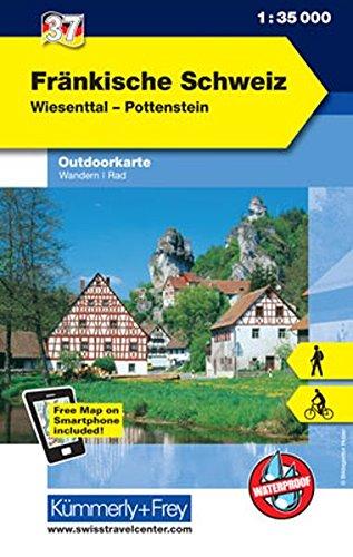 Fränkische Schweiz Outdoorkarte Deutschland Nr. 37: Wiesenttal, Pottenstein, 1:35 000, Mit kostenlosem Download für Smartphone (Kümmerly+Frey Outdoorkarten Deutschland) (Englisch) Landkarte – Folded Map, 13. April 2017 Hallwag Kümmerly+Frey AG Kümmerly + F