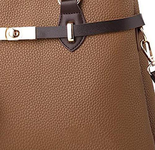 de 13 portátil brown Bandolera Tilt Personalizado cm Mujer de la 33 Tela Bolsos 22 PU único YT Hombro Y Wrap aHvq0wB0