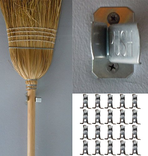 Bulldog Clamp (20 Pack) Spring Grip Garage Closet Wall Organizer for Brooms, Mops, Rakes, Etc. (Shovel Rack Wall)