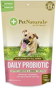 Pet Mascota del Natural de Vermont Diario para Perros, para la Salud digestiva Probiótico Suplemento, 60 Bite tamaño Suave – Chucherías: Amazon.es: Productos para mascotas