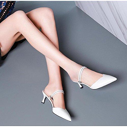 Finos Mujer Genuino Moda de Cuero y Tacones Mujer Zapatillas Zapatos Altos de Ropa Blanco Zapatos Sandalias tXRqpPP
