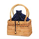 Ddreamon Hand-Woven Rattan Bag Shoulder Crossbody Bags Beach Straw Bag Bohemian Knitting Circular Handbags Hollow bags
