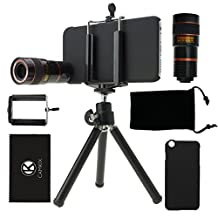iPhone 6 / 6S Camera Lens Kit including 8X Telephoto Lens-Mini Tripod / Universal Phone Holder / Hard Case / CamKix Microfiber Cleaning Cloth
