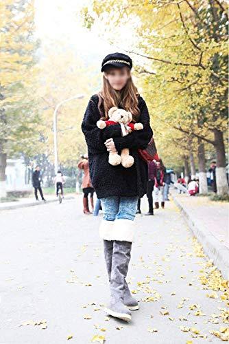 Invierno botas botas Para 34 39 Mujer La Mujer color De botas Amarillo Botas Gris Zhrui Rodilla Tamaño Antideslizantes 34 Planas Sobre wIPq0pH