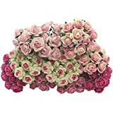 Handmade 100 pcs mini Rose mixed Pink color Mulberry Paper Flower 10 mm scrapbooking wedding doll house supplies card, Products From Thailand By RATREE SHOP.