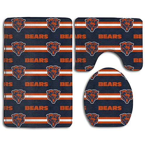 Sorcerer Custom Colorful Doormat American Football Team Chicago Bears Indoor Bathroom Anti-Skid Mats,3 Piece Non-Slip Bathroom Rugs,Non-Slip Mat Bath + Contour + Toilet ()