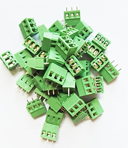 Conn2U 50-Pack PCB Screw Terminal Block, 2P 3P Optional, 5.0mm 5.08mm 7.5mm 7.62mm Pitch optional, Straight, Right Angle Opitonal 300V10A (Straight 3P, 5.08mm Pitch)