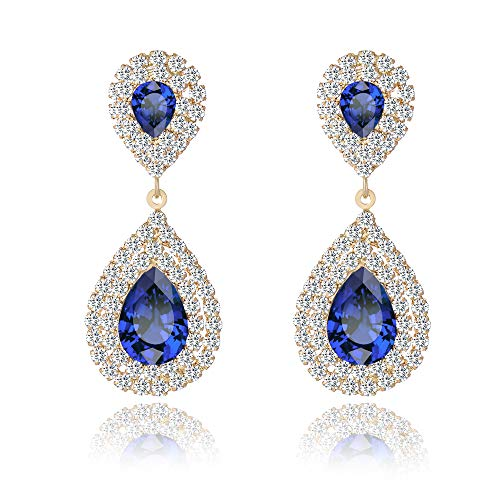 Miraculous Garden Womens Silver Gold Rose Gold Plated Crystal Rhinestone Wedding Hypoallergenic Drop Earrings for Mother's Day (White Gold Tone Plated Blue Crystal)