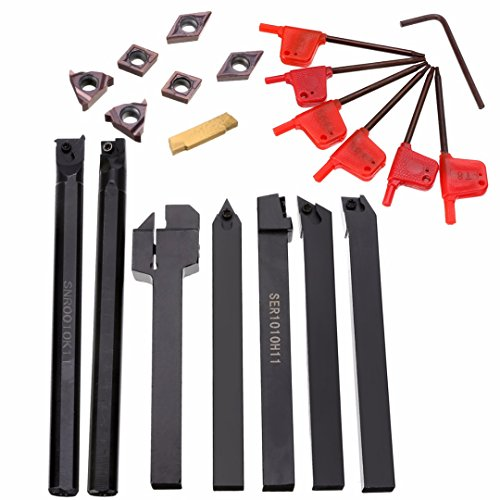 Holder Boring Bar + 7pcs Carbide Inserts Set with 7pcs Wrenches For Lathe Turning Tool ()