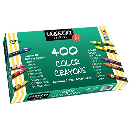 Crayon Assortment - Sargent Art 400-Count Crayon Class Pack, Best-Buy Assortment, 3-5/8 Inch, 55-3220