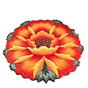 YOUSA Sunflower Round Rug Flower Shaped Bedroom Carpet Anti-slip Chair Mats (35.4,Orange)