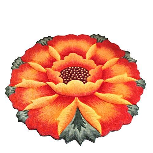 YOUSA Sunflower Round Rug Flower Shaped Bedroom Carpet Anti-slip Chair Mats (35.4'',Orange)