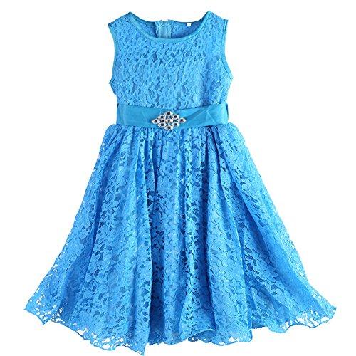 Girls Children Bowknot Dress Lace Silk Gauze Bubble Dress(Sky ()