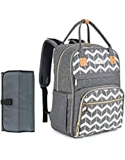 Diaper Bag Backpack, BABEYER Multifunction Travel Backpack Large Capacity Nappy Bags With Changing Pad, Gray