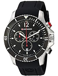 Men's 'Seaforce Chrono' Swiss Quartz Stainless Steel and Silicone Casual Watch, Color:Black (Model: 01.0643.108)