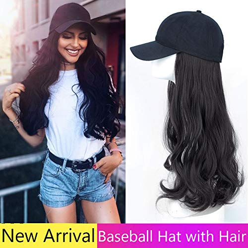 Guangao Baseball Hat with Synthetic Hair Extension Black Color Long Wavy hair Extensions with Baseball Cap All Cotton Made Black Hat for women