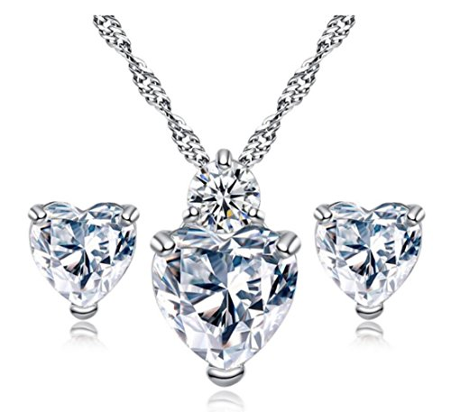 5.2 Ct Simulated White Clear Crystal Gemstone Heart Topaz with Simulant Diamond Accent - Earrings Pendant Necklace Jewelry Set -Great Valentine's Birthday Anniversary Mother's Day Wedding Gi (Gems Topaz Clear)