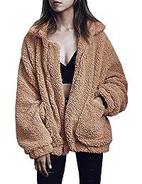 Womens Fashion Long Sleeve Lapel Zip Up Faux Shearling Shaggy Oversized Coat Jacket with Pockets