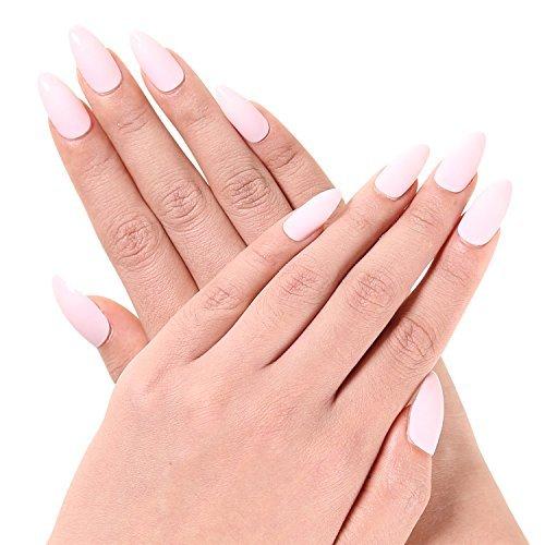Ejiubas 24 Pcs Matte with Glossy Finish Full Cover Talone Medium False Nail Tips (pink)