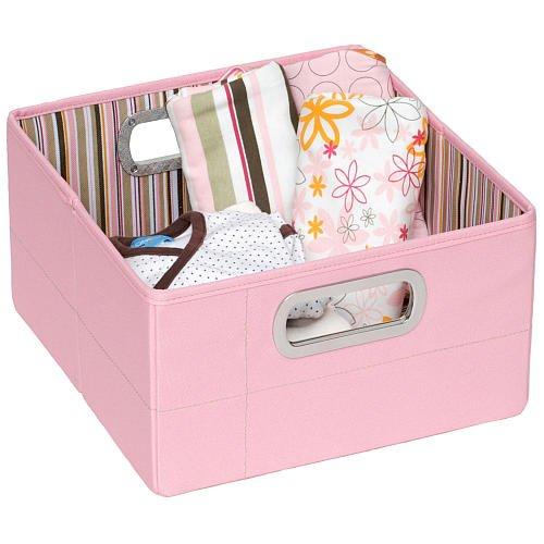 Jj Cole Short Storage Box - Pink Stripe with comfortable metal handles