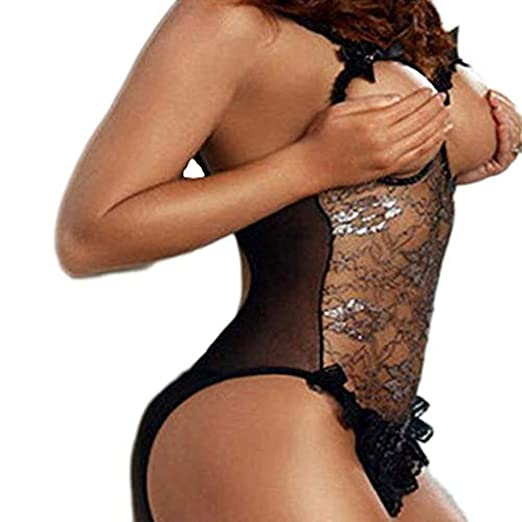302c53089 Lace Sleepwear -Super Sexy Cozy Temptation Babydoll Underwear Jumpsuit ( Black